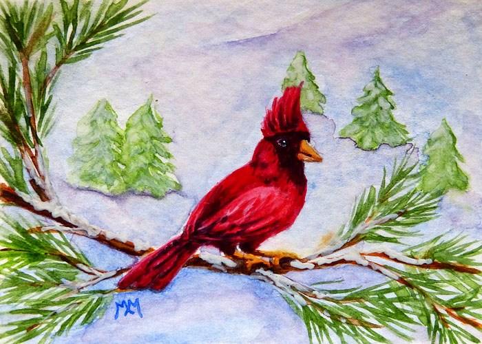 """""""Winter Cardinal"""" original fine art by Monique Morin Matson"""