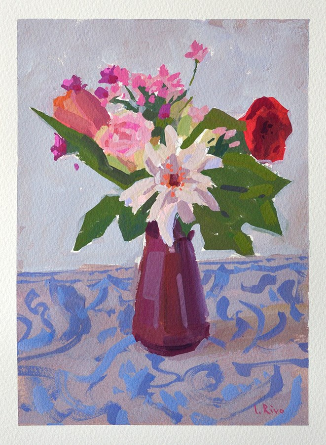 """Still Life with Flowers in a Vase"" original fine art by Lena  Rivo"