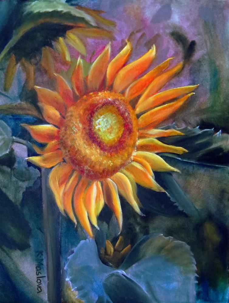 """Sunflower"" original fine art by Kulli Maslova"
