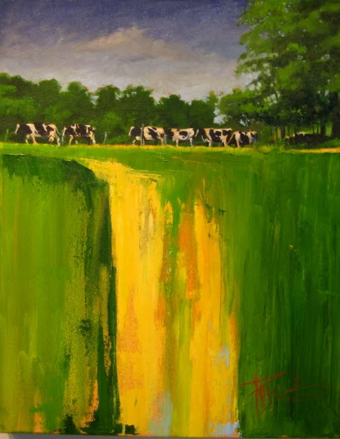 """Cows on the Edge  landscape oil painting"" original fine art by Robin Weiss"