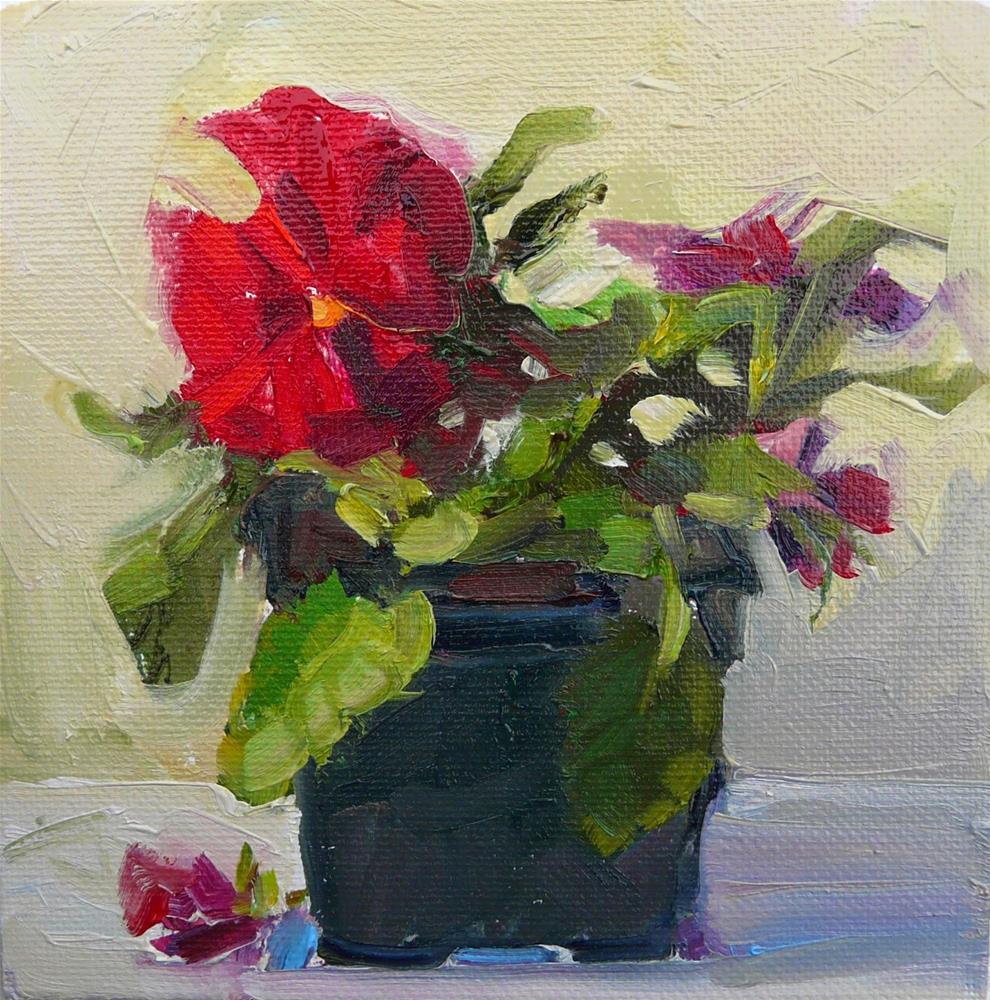 """Rainy Day Pansy,still life, oil on canvas,6x6,price$200"" original fine art by Joy Olney"