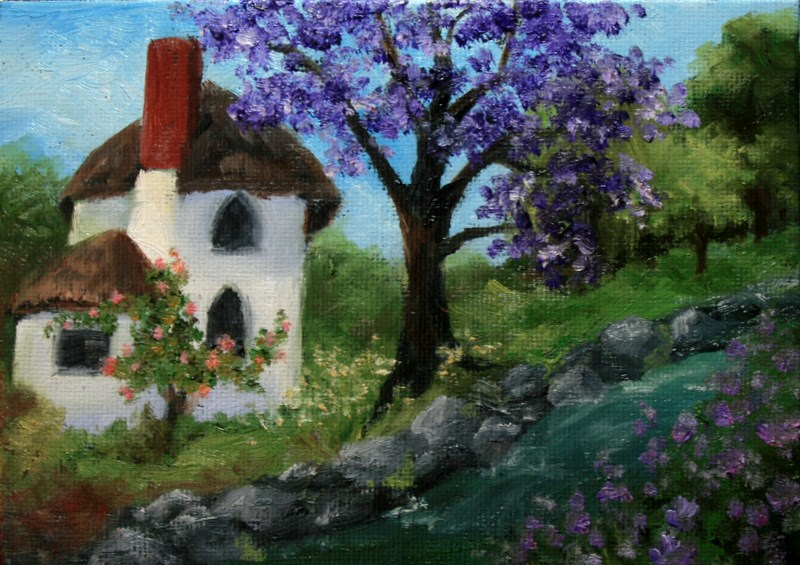 """Engish Cottage with Purple Blossomed Tree"" original fine art by Jean Nelson"