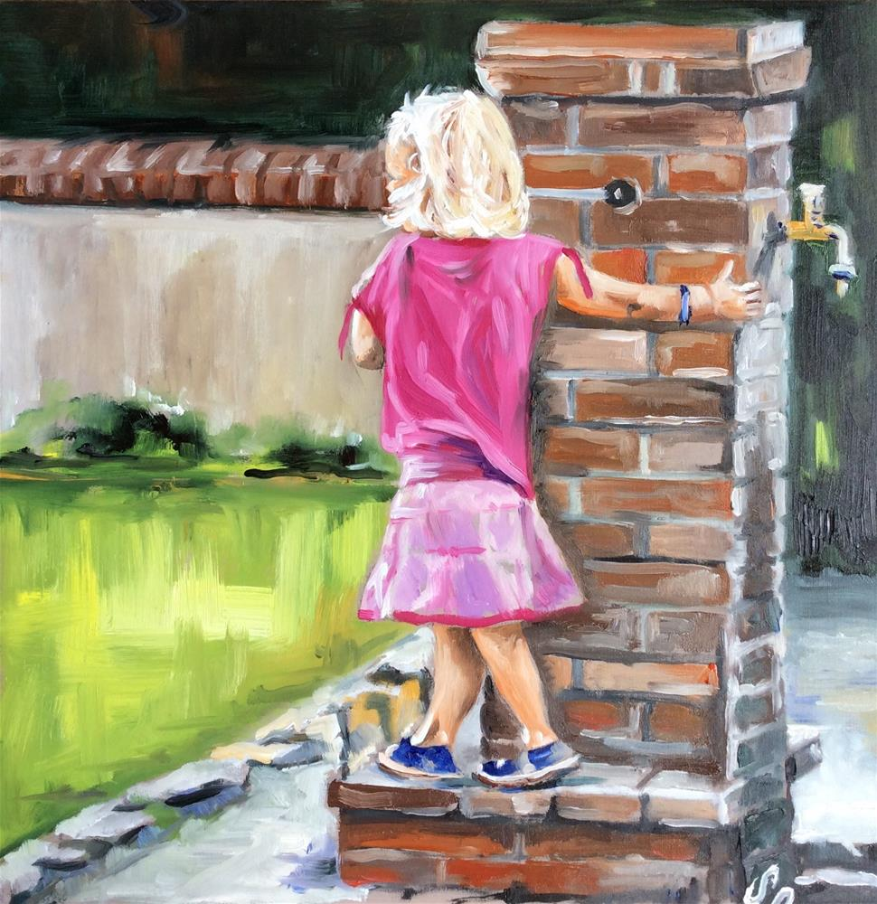 """Girl in pink"" original fine art by Sonja Neumann"