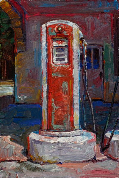 """Old Gas Pumps (Red & White)"" original fine art by Raymond Logan"