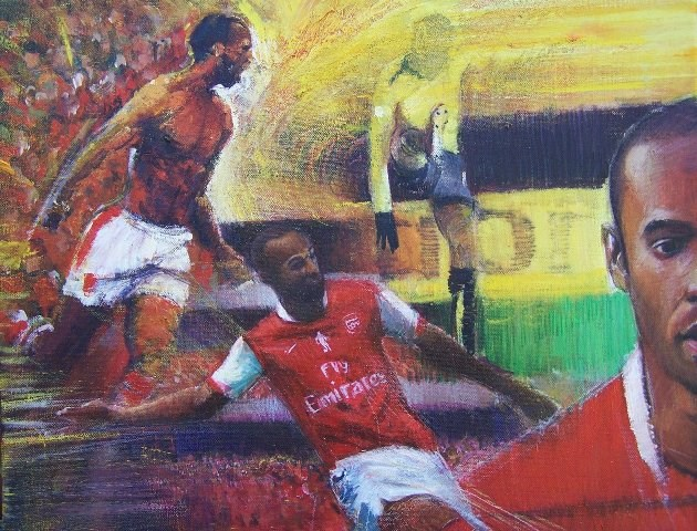 """The Last Electrifying Gooner- Thierry Henry"" original fine art by Adebanji Alade"