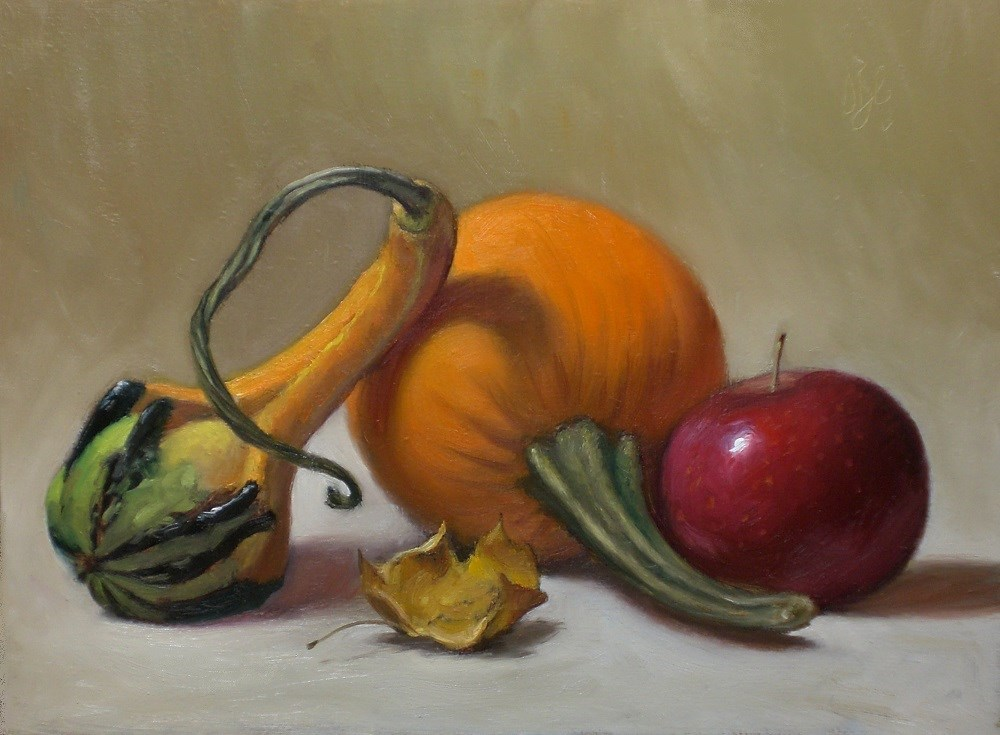 """Mini Pumpkin, Apple and Goard"" original fine art by Debra Becks Cooper"