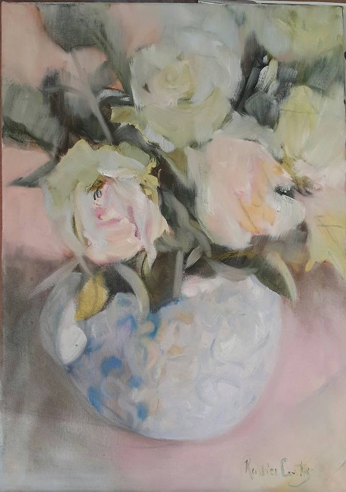 """Marshmallow roses"" original fine art by Rentia Coetzee"