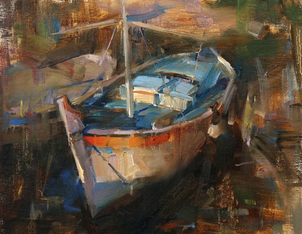 """Derek's Boat"" original fine art by Qiang Huang"