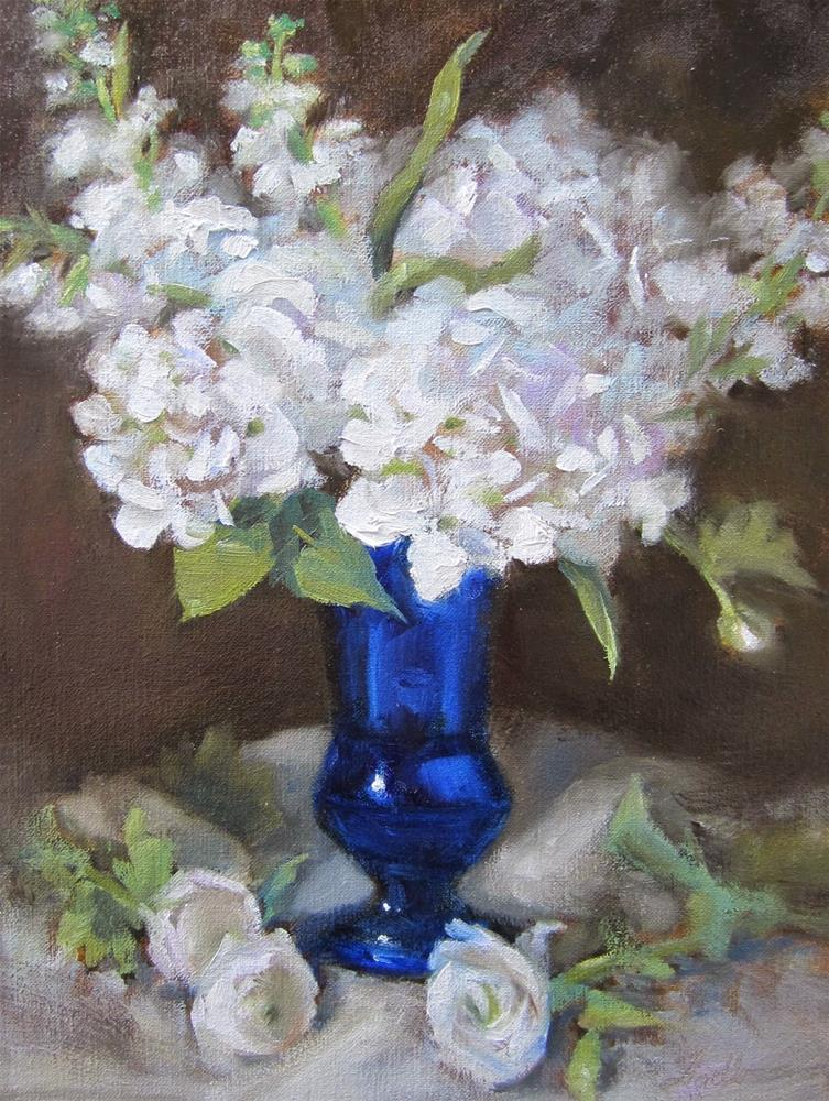 """Hydrangea & Stock II"" original fine art by Pat Fiorello"