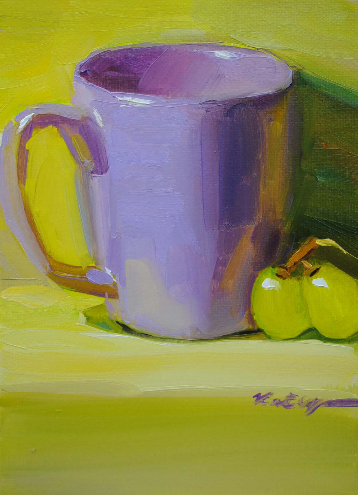 """Lavender Mug"" original fine art by Elena Katsyura"