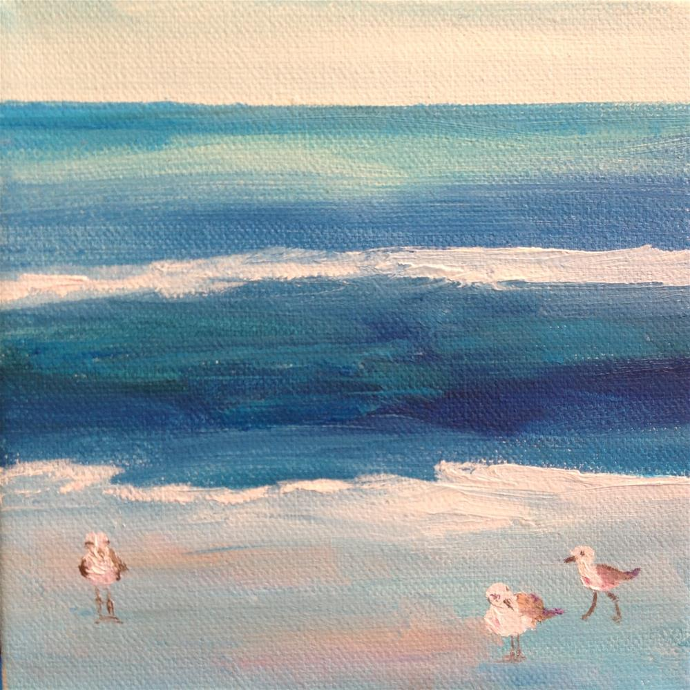 """Three Beach Birds"" original fine art by Rose Brenner"