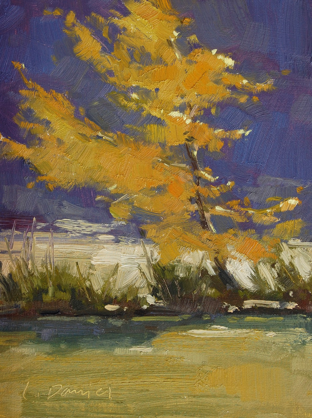 """Sun-Struck Sapling and tips for using refined linseed oil as a medium"" original fine art by Laurel Daniel"
