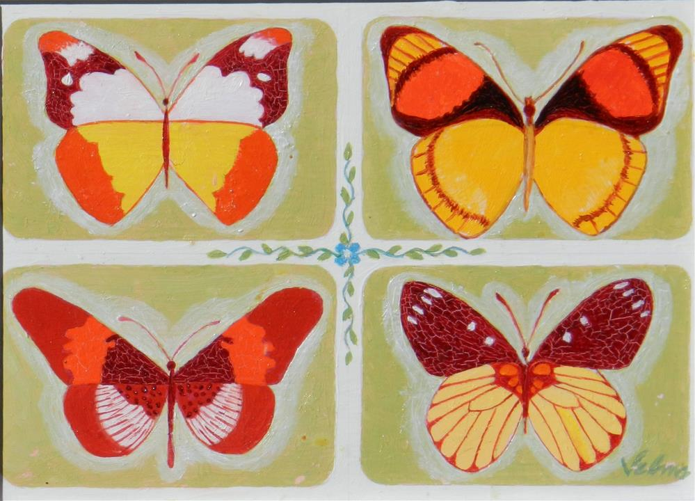 """Orange and Gold Butterfly #2"" original fine art by Velma Davies"