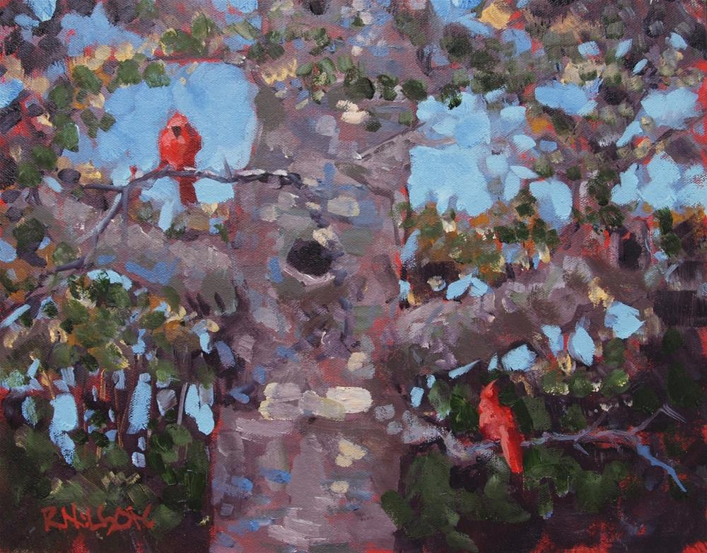 """Woodland Cardinals"" original fine art by Rick Nilson"