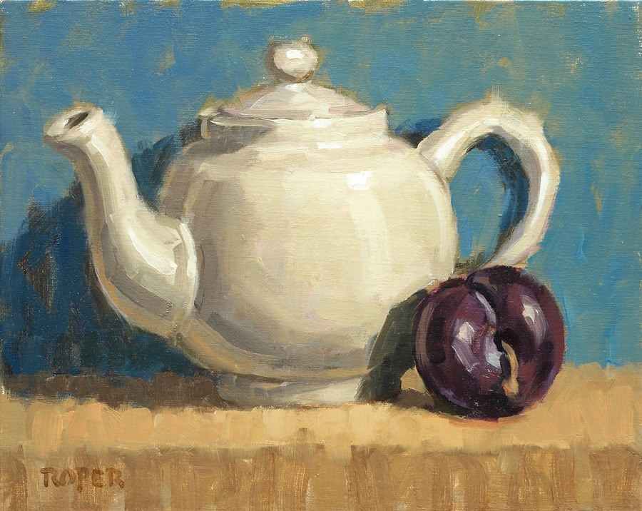 """DAY 15: Teapot with Plum"" original fine art by Stuart Roper"