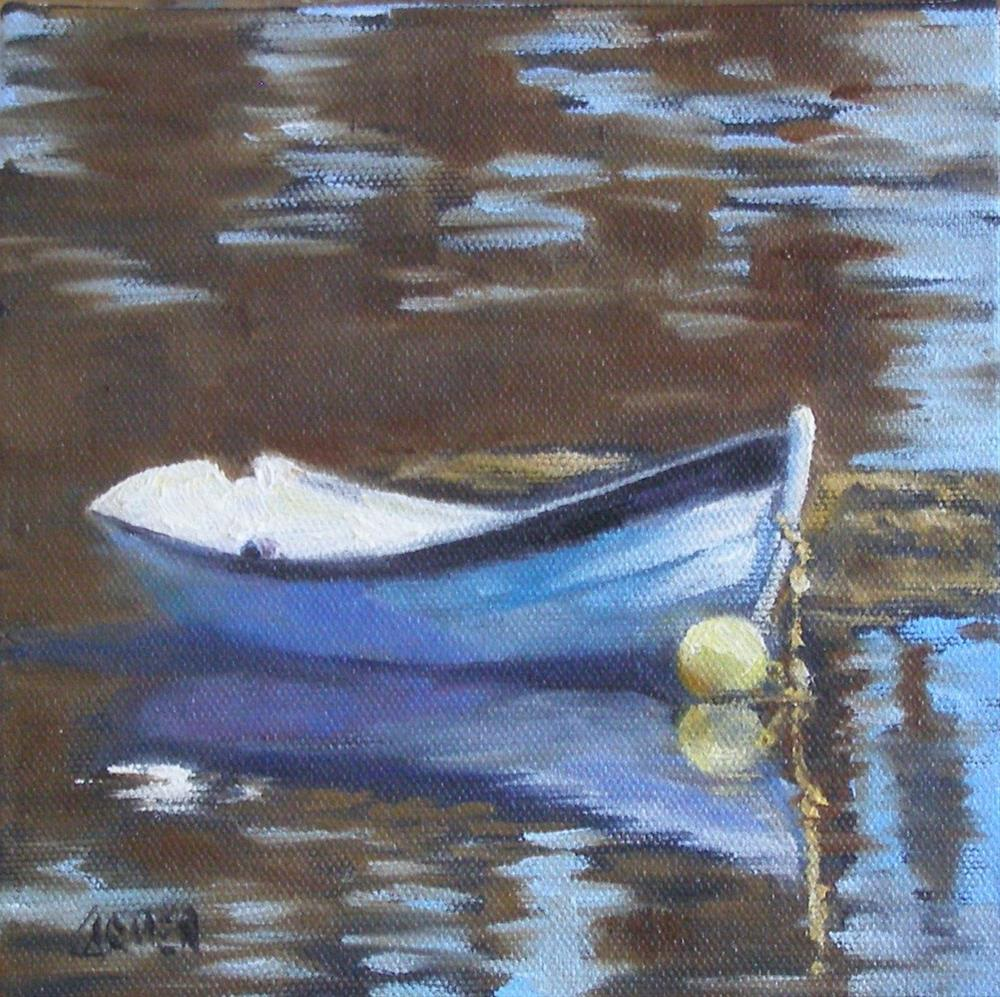 """Yellow Buoy, 6x6 Oil on Canvas Board"" original fine art by Carmen Beecher"