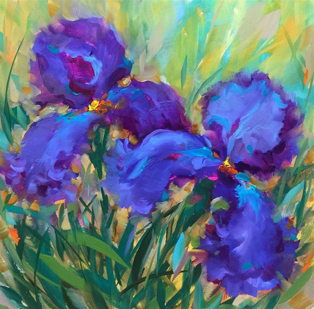 """Blue Tango Iris Garden - Nancy Medina Art Videos and Classes"" original fine art by Nancy Medina"