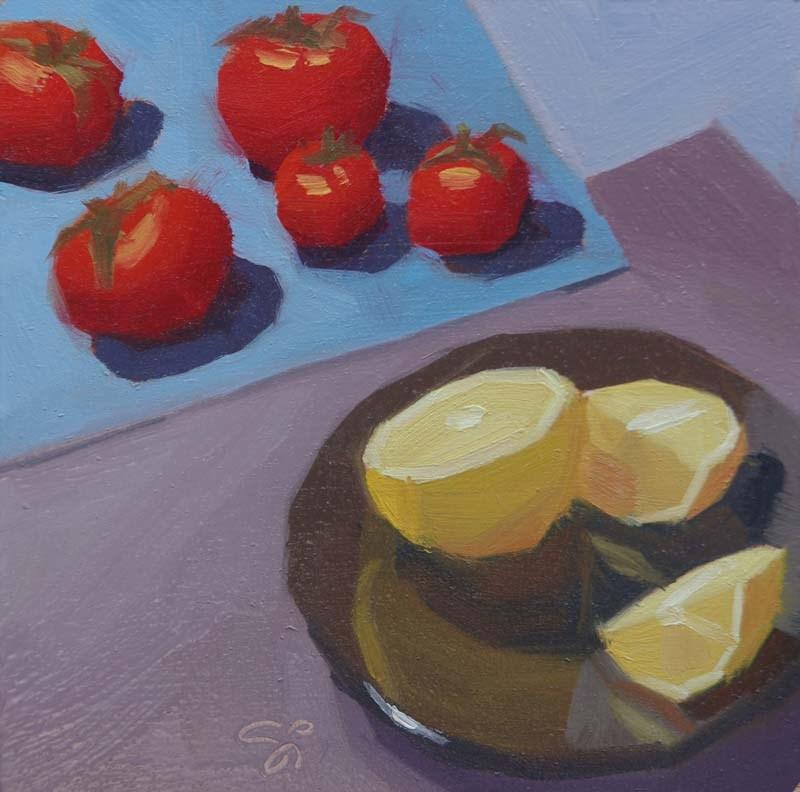 """Lemon vs tomato"" original fine art by Istvan Schaller"