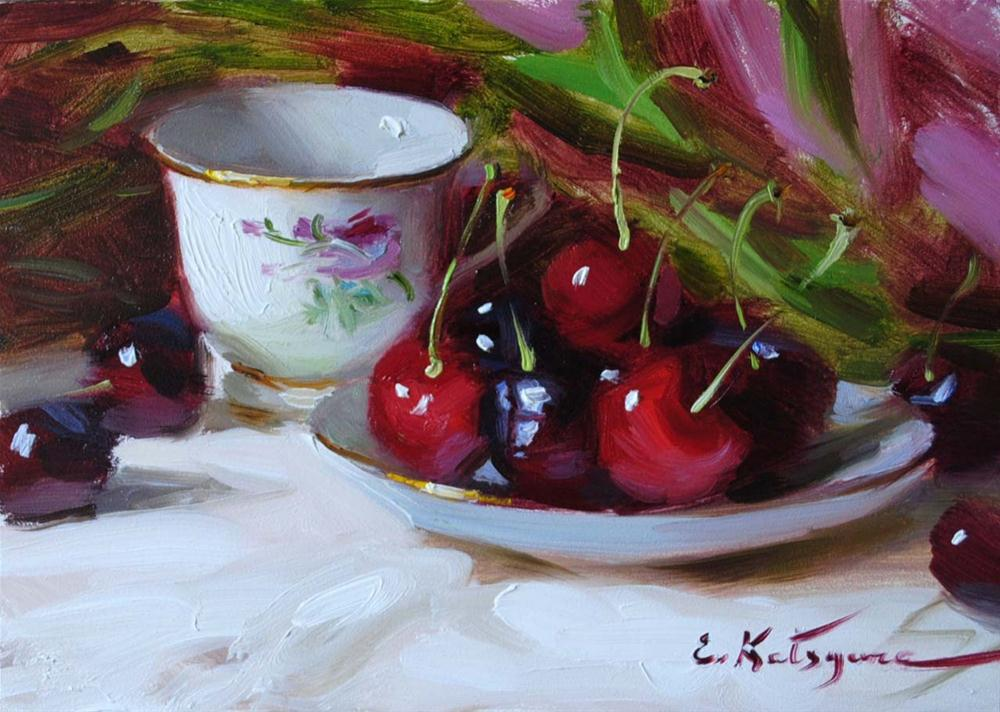 """Teacup and Cherries"" original fine art by Elena Katsyura"