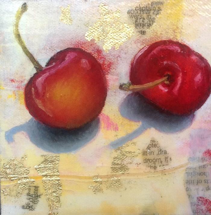 """""""Tout de suite Chérie! - Two Sweet Cherries"""" original fine art by Anne Ducrot"""