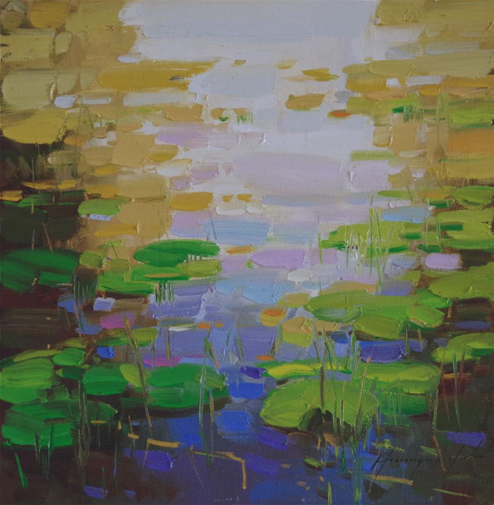 """Waterlilies Original oil Painting"" original fine art by V Yeremyan"