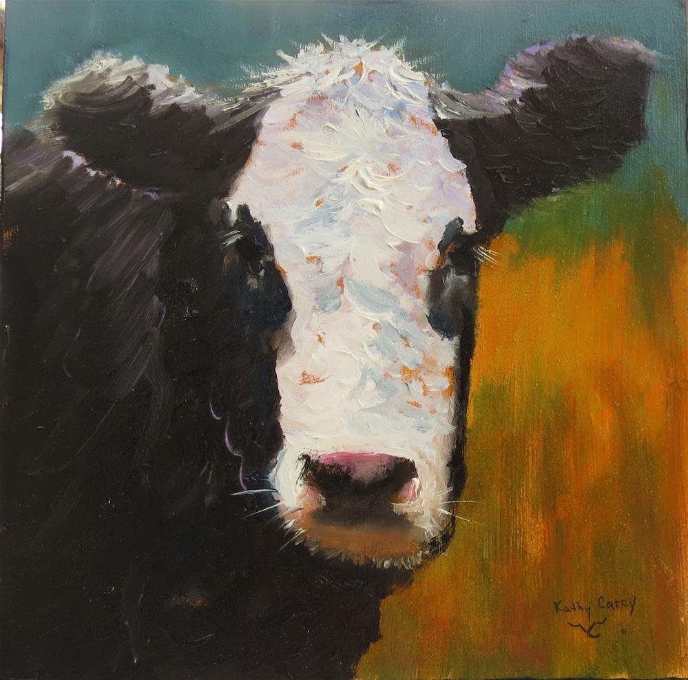 """Moo...ve over"" original fine art by Kathy Carey"