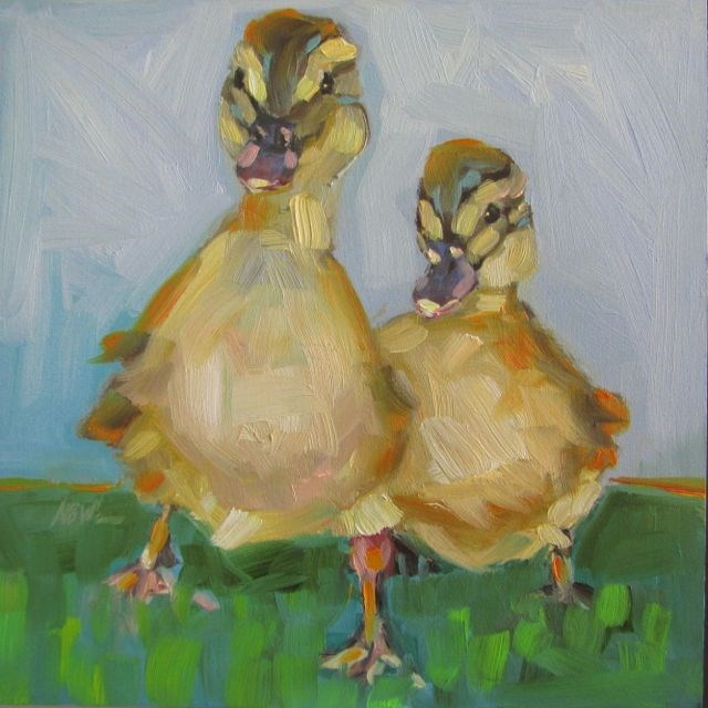"""MALLARD BABIES"" original fine art by Mb Warner"