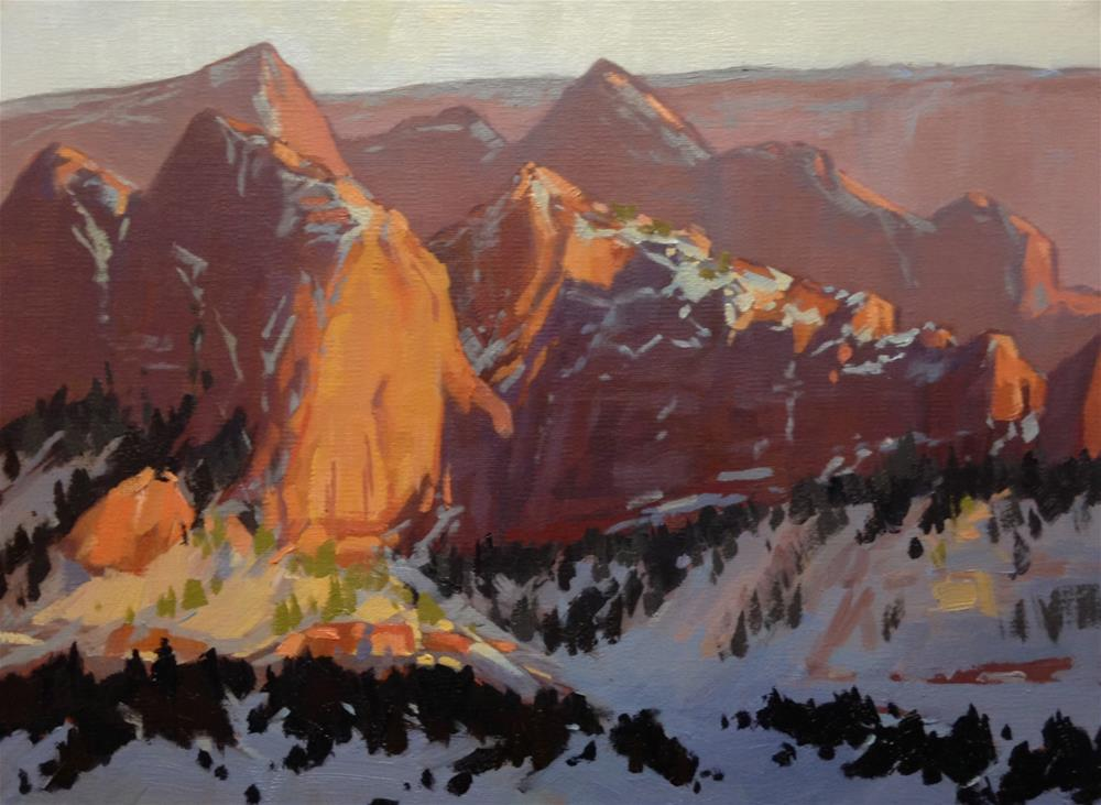 """Kolob Canyons in the Winter"" original fine art by Mary Jabens"