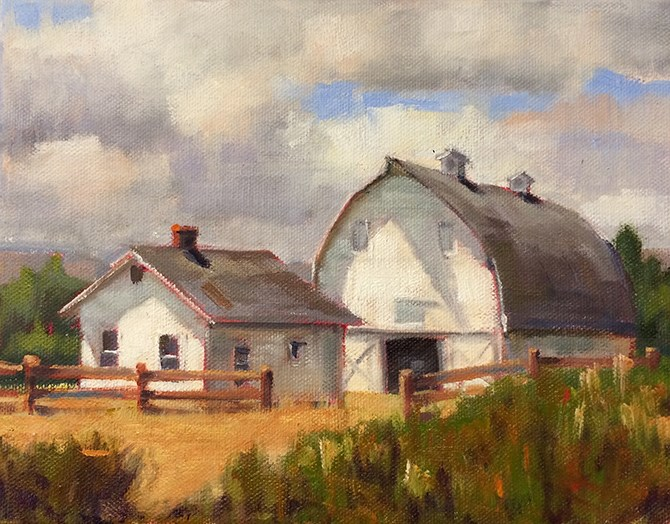 """Montana White Barn"" original fine art by Deborah Newman"