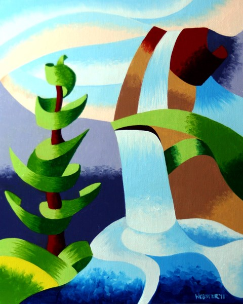 """Mark Adam Webster - Abstract Waterfall with Pine Tree Landscape Oil Painting"" original fine art by Mark Webster"