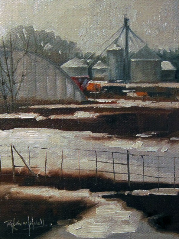 """No 783 Winter Farm"" original fine art by Robin J Mitchell"