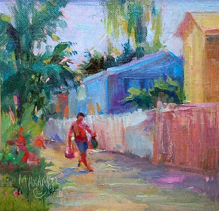 """The Day's Shopping"" original fine art by Mary Maxam"