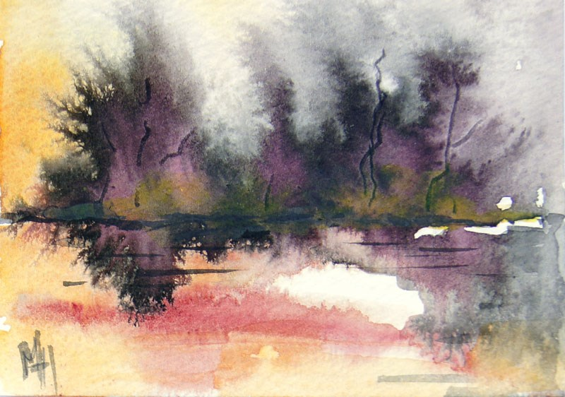 """Sunrise at the lake 2 ACEO"" original fine art by Marion Hedger"