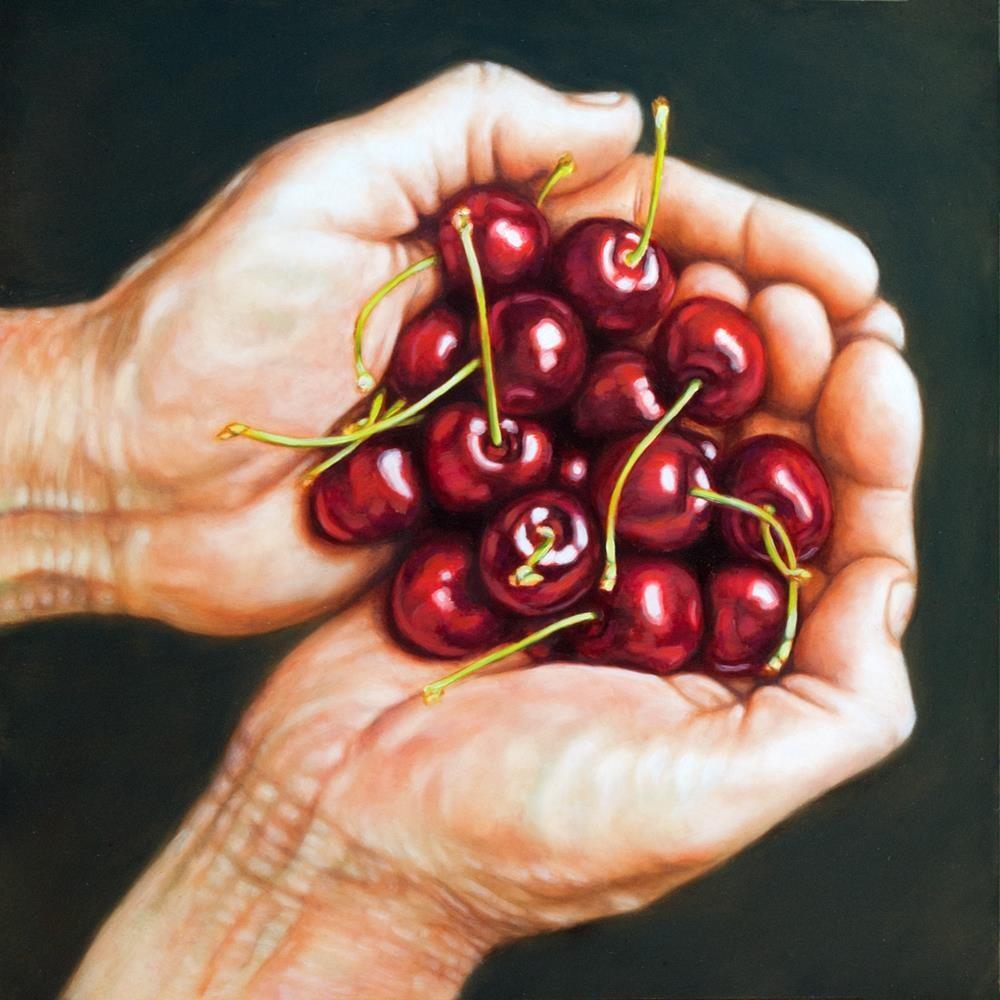 """Cherries in Hand"" original fine art by Margaret Horvat"