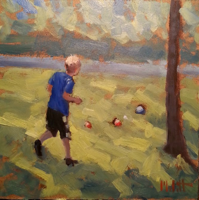 """Bocce Ball Boy at Play Impressionism Original Contemporary Oil Painting"" original fine art by Heidi Malott"