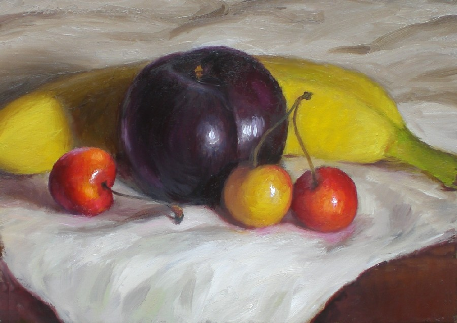 """Cherries, Plum, Banana"" original fine art by Debra Becks Cooper"