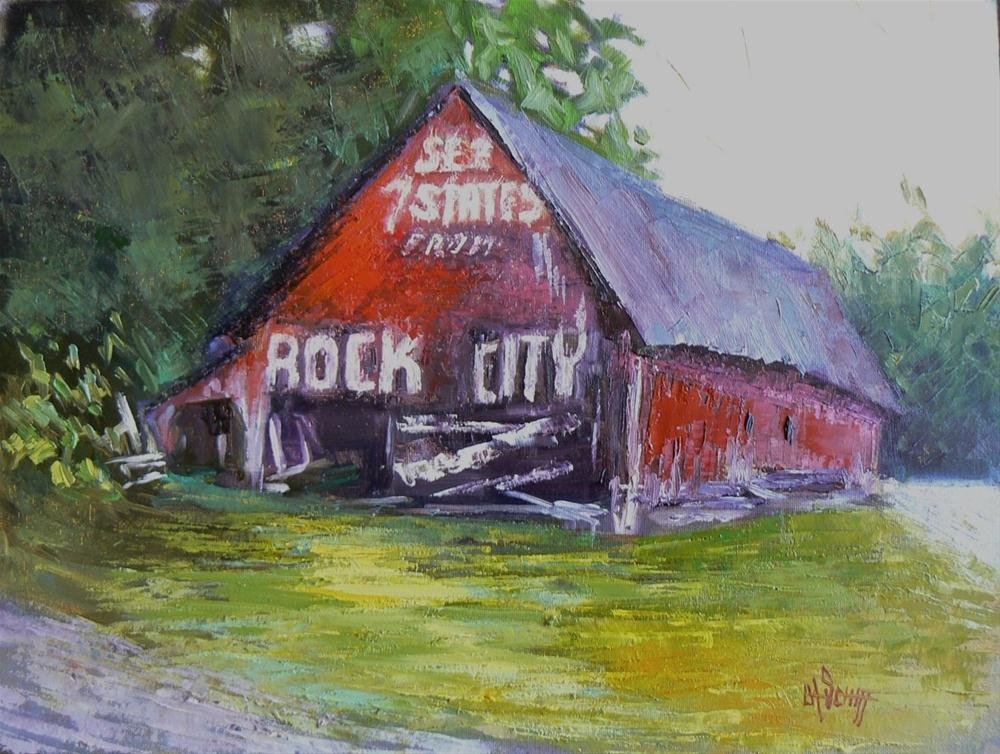"""Daily Painting See Rock City,9x12  Barn Painting with  Palette Knife,"" original fine art by Carol Schiff"