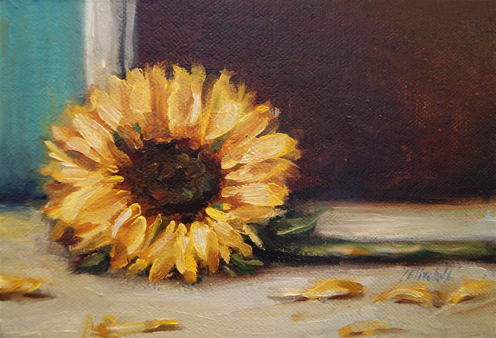 """Sunflower and Turquoise Wall,  Oil on 4x6 Linen Panel"" original fine art by Carolina Elizabeth"