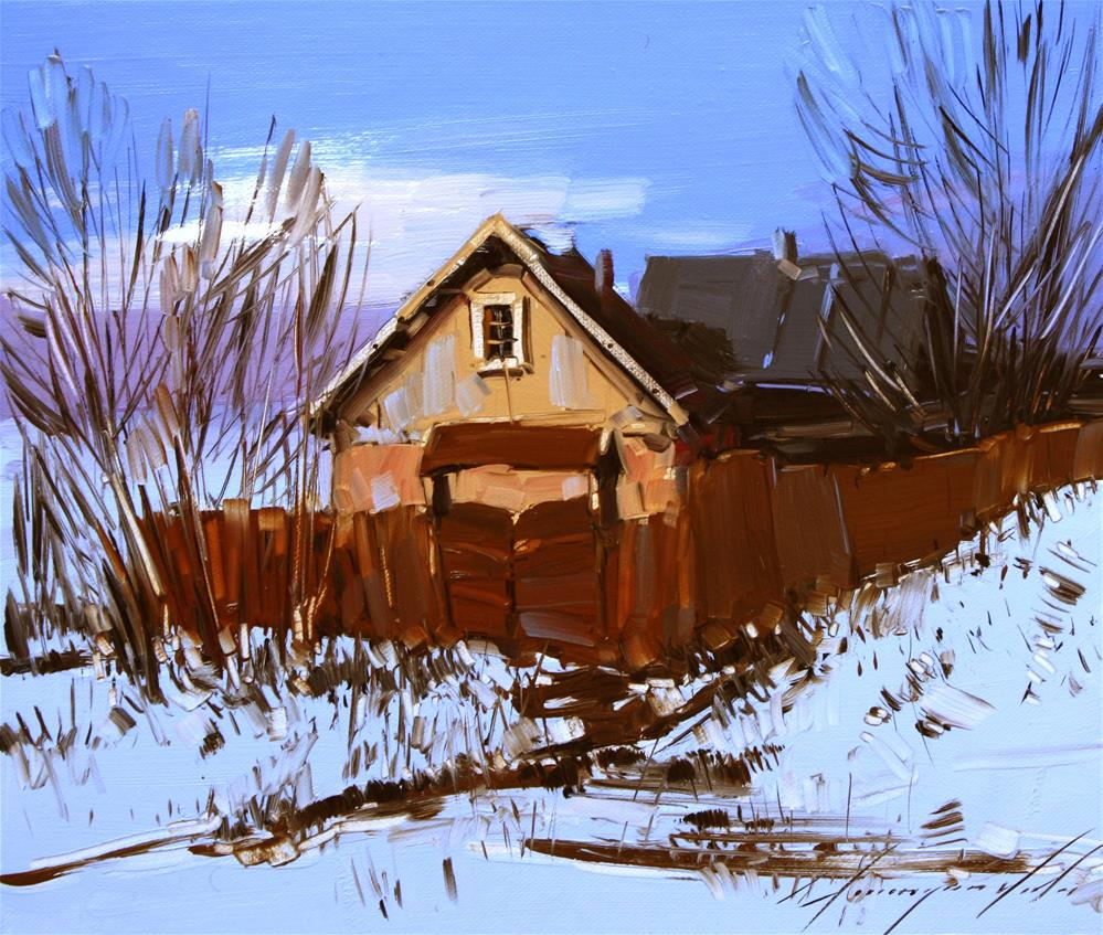 """VILLAGE OIL ON CANVAS"" original fine art by V Y"