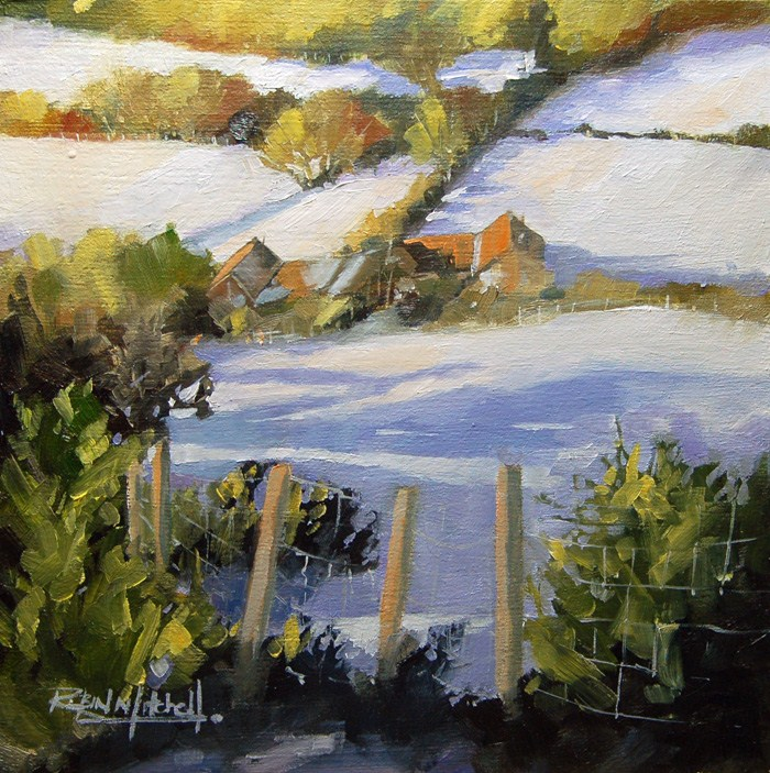 """No 579 Snow in the Valley"" original fine art by Robin J Mitchell"