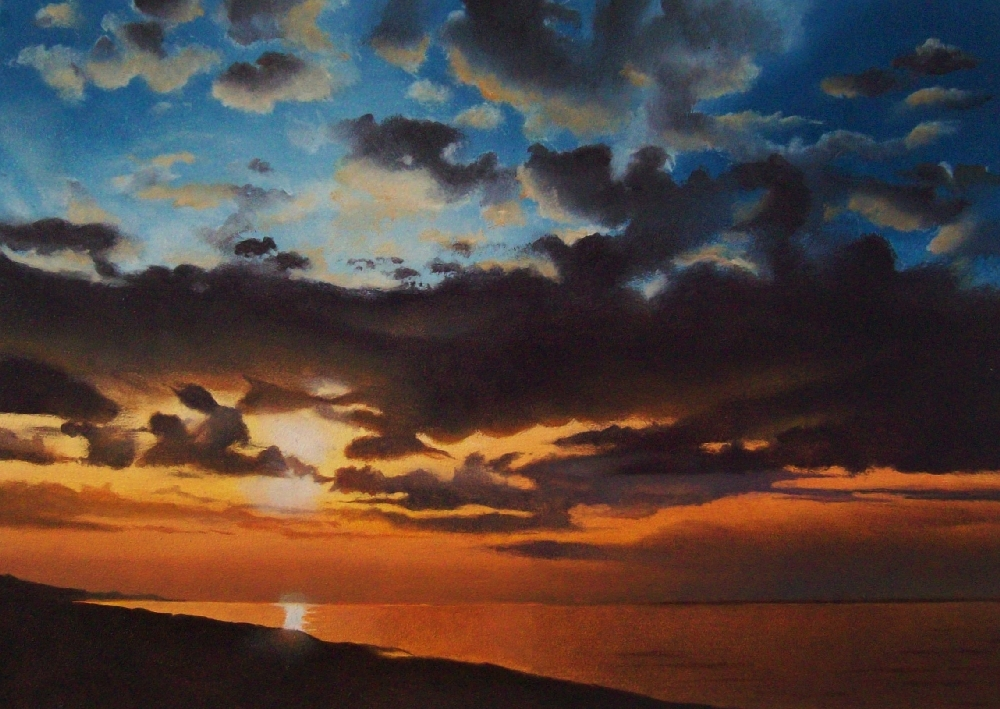 """Last Light - Lake Michigan"" original fine art by Jacqueline Gnott, whs"