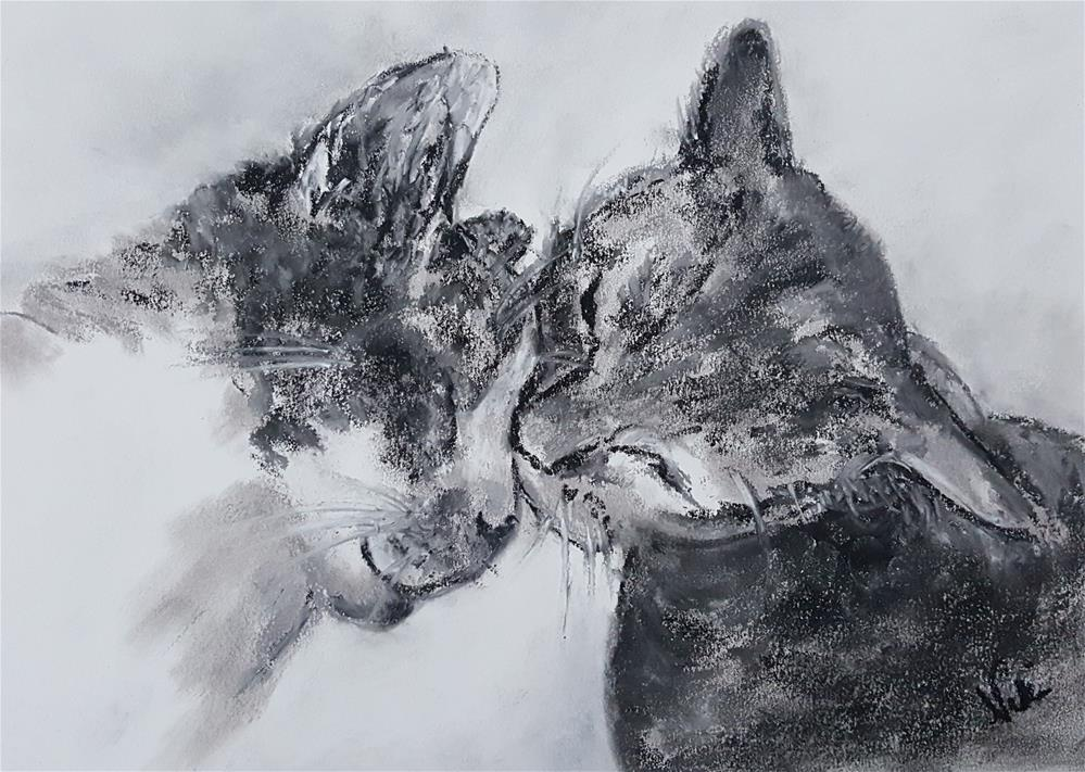 """Kitty Kiss"" original fine art by Niki Hilsabeck"