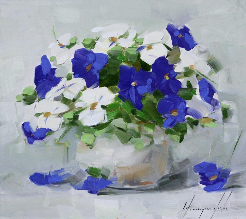 """VASE OF PANSIES"" original fine art by V Y"