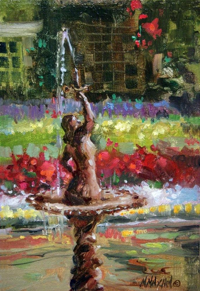 """Garden Fountain & Flowers"" original fine art by Mary Maxam"
