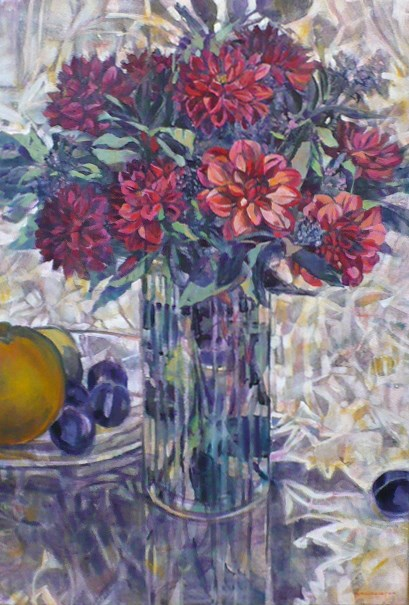 """""""Dahlias"""" original fine art by Nicoletta Baumeister"""