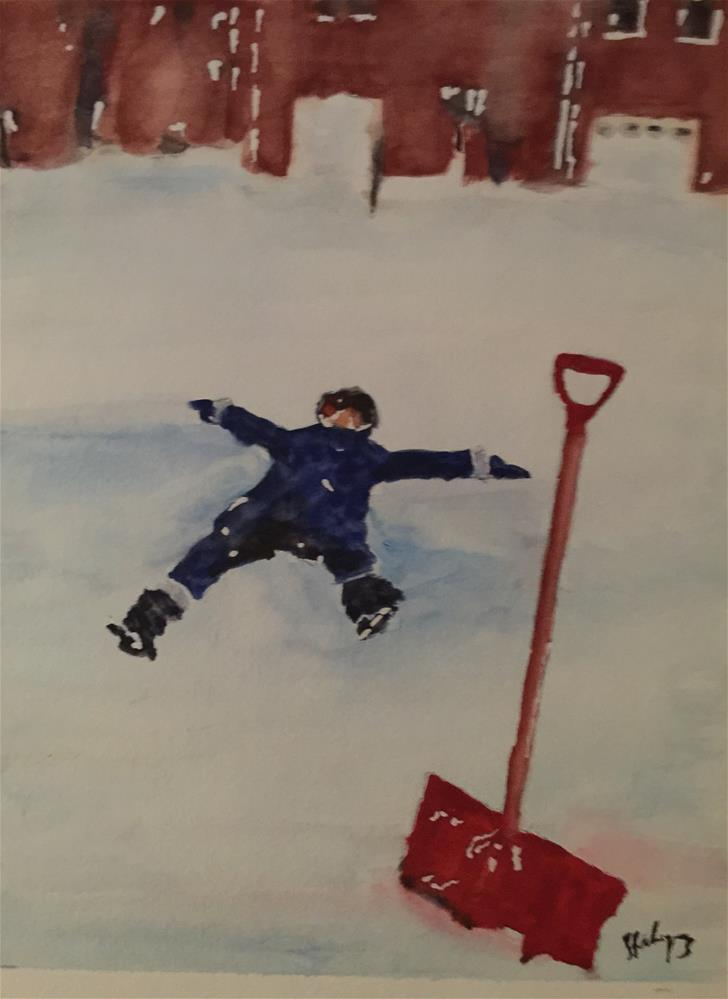 """Playing on the Snow, VA 2016"" original fine art by Juan Velasquez"