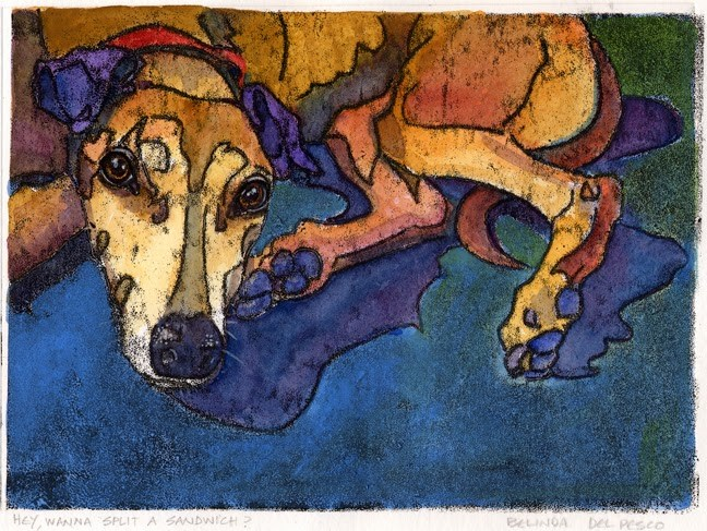 """Trace Monotype with Watercolor: Doe-eyed Greyhound Dog"" original fine art by Belinda Del Pesco"