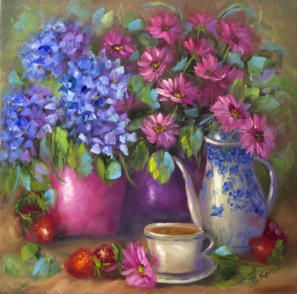 """A Little Break In The Garden"" original fine art by Bobbie Koelsch"