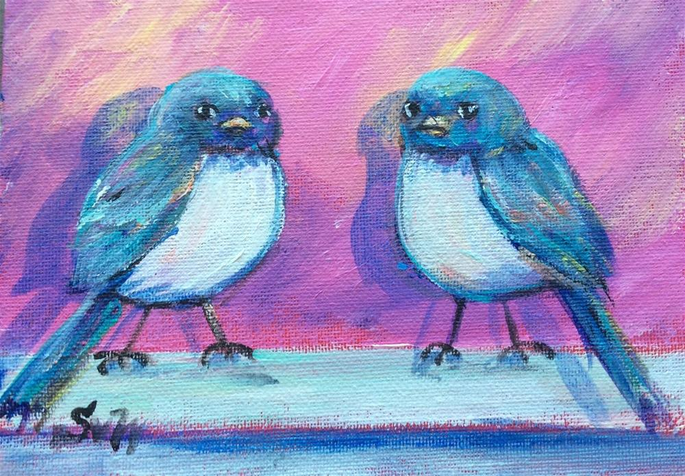 """Two birdies"" original fine art by Sonia von Walter"