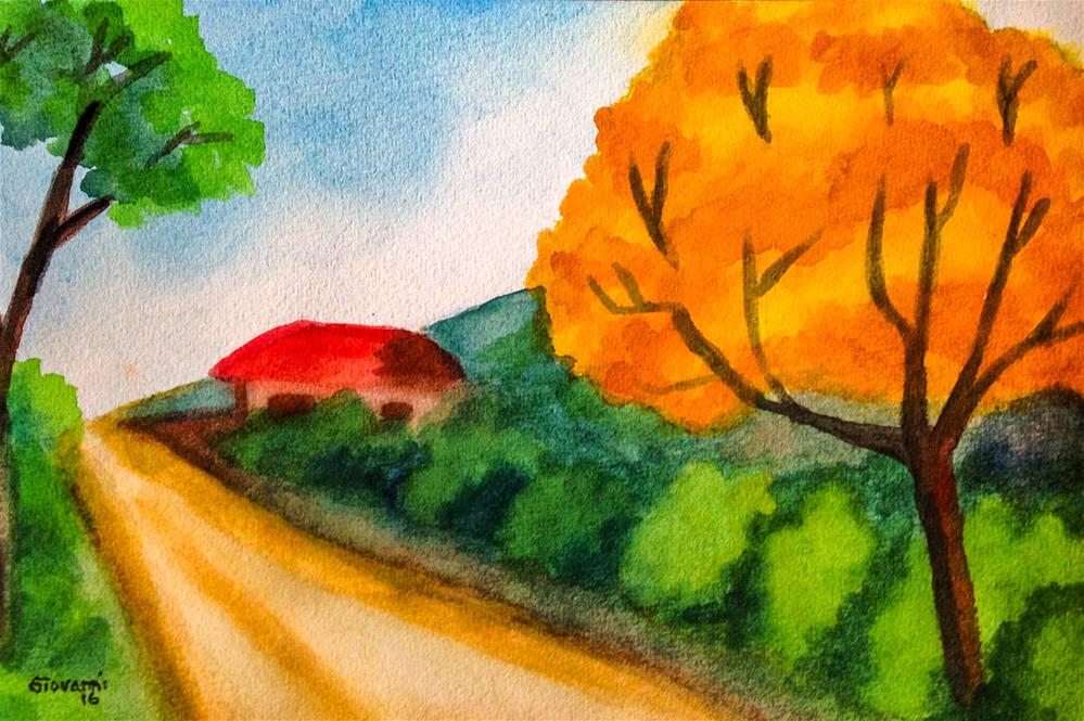 """The red house and the cortez tree"" original fine art by Giovanni Antunez"